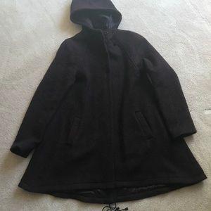 Topshop Purple W Black Lama Wool Hooded jacket S